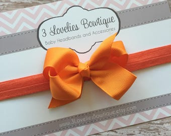 Bow Headband..Orange Headband..Orange Baby Bow..Baby Bow Headband..Baby Girl Headband..Baby Headband..Infant Headband..Bow Headband