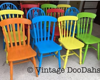 Mix and Match Painted Farmhouse Chairs - Painted to order in your choice of colours