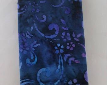 Fabric passport cover - blue/purple batik