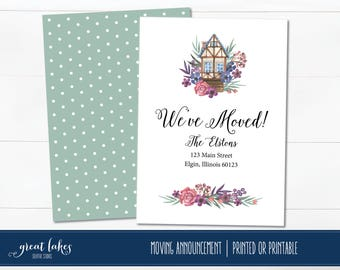 Watercolor Moving Announcement, We've Moved, We Moved Cards, Change of Address, We Have Moved Announcements, New Home, New Address Cards