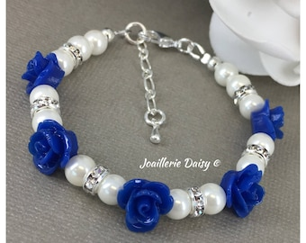 Flower Girl Bracelet Flower Girl Jewelry Flower Girl Gift for Her Royal Blue Bracelet Pearl Bracelet Pearl Jewelry Royal Blue Jewelry