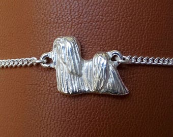 Sterling Silver Lhasa Apso Standing Study Anklet