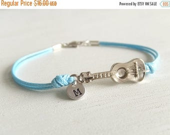 Clearance 20% OFF Sale Silver Ukulele Guitar Jewelry Bracelet, Summer Outdoor, Personalized Letter, Gift for Her, Music Guitar, Under 20