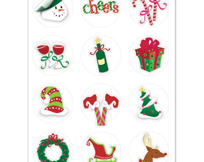 Holiday Toast Wine Glass Decals, 1 Inch Round Glass Tags - Glass Not included, 12 Per Pack