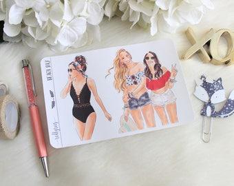 Beach Day, Fashion Girls, Planner Stickers