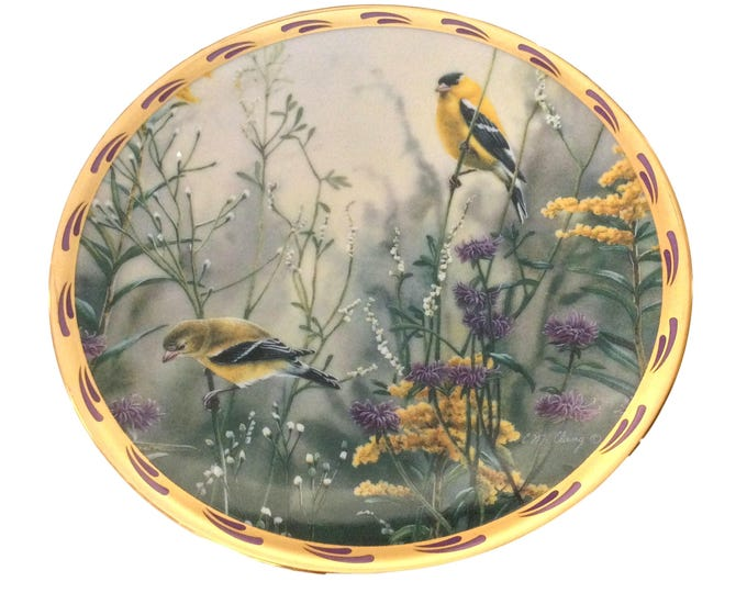 Goldfinch Bird Art Print Plate, Lenox China, Yellow Songbirds, Golden Splendor Collection, Vintage Wall Hanging Decor, American Goldfinch