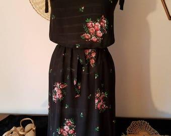 Sheer Black Floral Dress