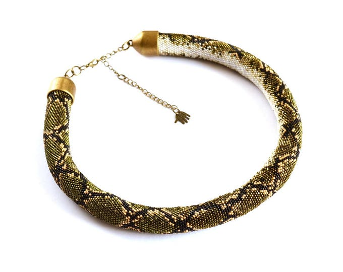 Made to order, python necklace, snake necklace, custom necklace, beaded necklace, skin snake necklace, statement necklace, choose color