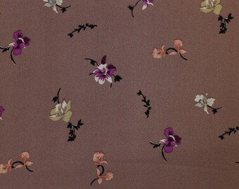 Mauve  and Violet Floral Print on Chelsea Chiffon Fabric by the Yard / Swatch - Style P-10008-502