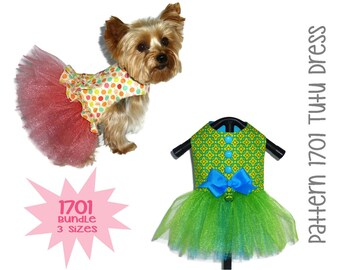Tutu Dog Dress Pattern 1701 * Bundle 3 Sizes * Dog Clothes Sewing Pattern * Dog Harness Dress * Dog Apparel * Dog Outfit * Girl Dog Clothes