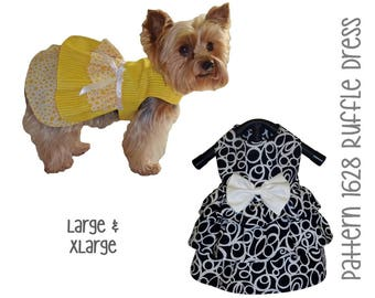 Ruffle Dog Dress Pattern 1628 * Large & XLarge * Dog Clothes Pattern * Dog Harness Dress * Pet Apparel * Dog Outfits * Little Dog Clothes