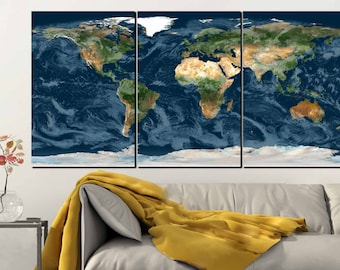 World Map,World Map Wall Art,World Map Art,World Map Canvas,Planet Earth Art,Large World Map,Office Wall Art,World Map Art Print,3D Map Art