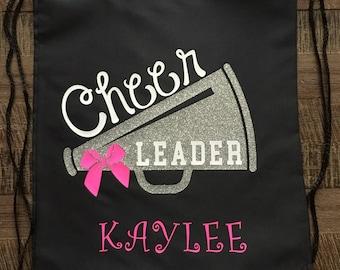 Cheerleader Glitter Megaphone Drawstring Bag/Backpack, Cheer Bag