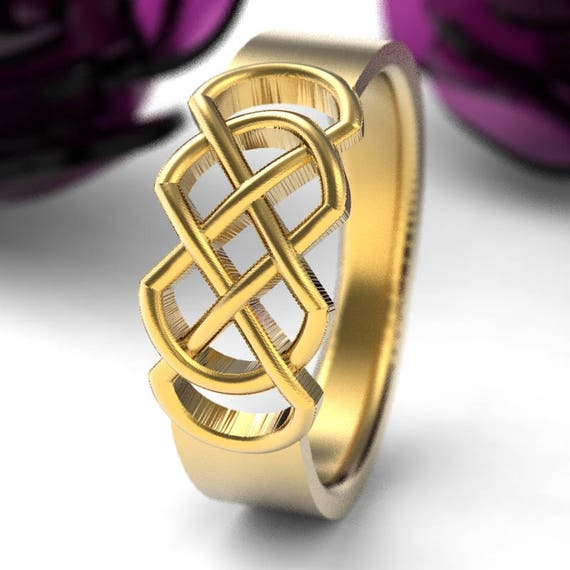 Celtic Wedding Ring With Infinity Knot Design in 10K Gold, Made in Your Size CR-770