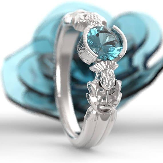 Thistle Engagement Ring, 10K 14K or 18K Gold & Aquamarine, Scottish Solitare, Floral Wedding, Handcrafted Rings, Platinum or Palladium 5062