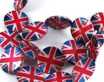 Set of 2 beads, mother-of-Pearl, Union Jack British flag pattern.