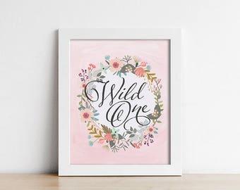 Nursery PRINTABLE Wall Art - Woodland Nursery - Wild One - Peach Pink - Nursery Decor - Baby Girl Art Print - Shower Gift - SKU:3008