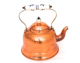 Vintage Copper Teapot, Copper Kettle, J.Santos Made In Portugal Teapot, Decorative Copper & Porcelain Teapot, Pan Top Copper Water Kettle