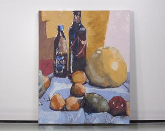 Vintage Wine and Fruits Still Life Oil Painting on Canvas