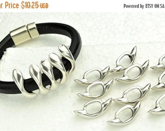 ON SALE 10-Round Elongated Spikes - Antique Silver - for Licorice Leather  - 10mm x 6mm Leather