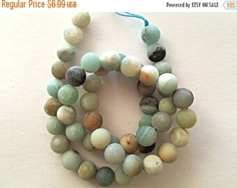 25% OFF 8mm Matte Amazonite Gemstone Beads Round Beads , Full Strand , Ocean Blue Gemstone Beads - 47 beads - SAMZ103
