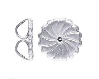 2 Pcs 7mm Sterling Silver Earring Back, Medim Ear Nuts, Fancy Ear Nuts, Wholesale Sterling Silver Findings Components - SF501