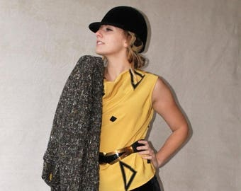 Sexy Summer Sale 80's Mustard Yellow Black Abstract Print Cowl Neck Sleeveless Blouse size Large