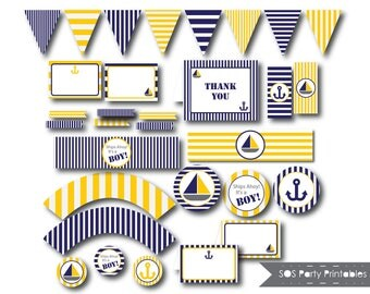 Nautical Baby Shower, Blue and Gold, Printable Baby Shower, Baby Boy, Sailboat Baby Shower, Baby Shower Printables, Ships Ahoy It's a Boy