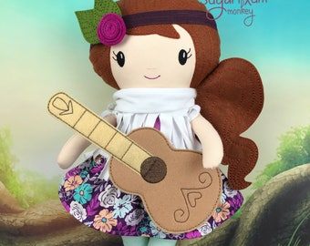 READY TO SHIP Boho Cloth doll with guitar - Fabric Doll - Dress Up Doll - Handmade Doll - Rag Doll - Room Decor - Heirloom Doll