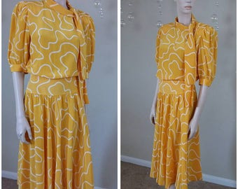 Beautiful Vintage yellow 90s dress by Albert Nipon Sakowitz