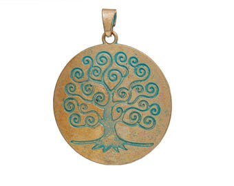 Tree of Life: Gold and Patina Tree of Life, Sold individually, Large Pendent, Tree Pendant, Statement Piece, Green Tree, Patina Tree, GDT034