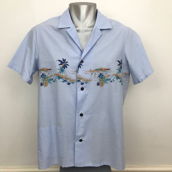 Vintage hawaiian shirt 1970s polyester cotton hawaii print mens shirt short sleeves party vacation medium midcentury rockabilly style
