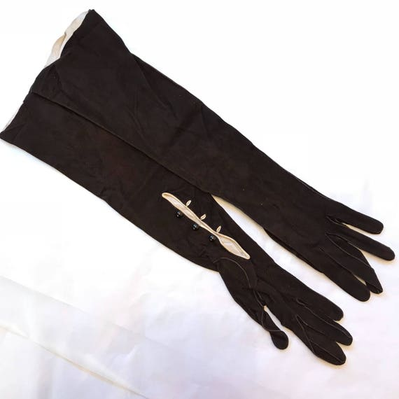 Vintage long gloves 1920s brown suede cream trim leather long length size 6 glam pin up 1940s gloves 40s Penburthy