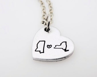 State to State Long Distance Love  Personalize with your states and initials Great Gift Idea Long Distance Love LDR Going away gift ldrship