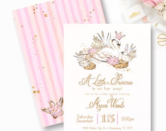 Swan Baby Shower Invitation, Swan Princess Baby Shower, Pink and Gold, Baby Shower, It's a Girl