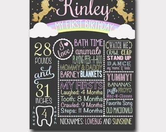 Unicorn Birthday Chalkboard | Unicorn Birthday Invitation | Rainbow Birthday Chalkboard  | First Birthday |