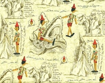 Pinocchio - Florentine paper with gold print, Italy