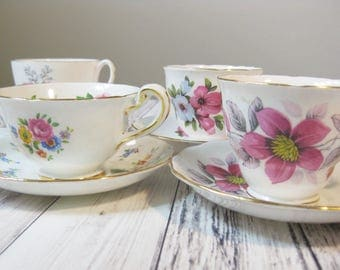 Bone China Tea Cups, Instant Collection, set of 4 Assorted English Bone China Tea Cups and Saucers