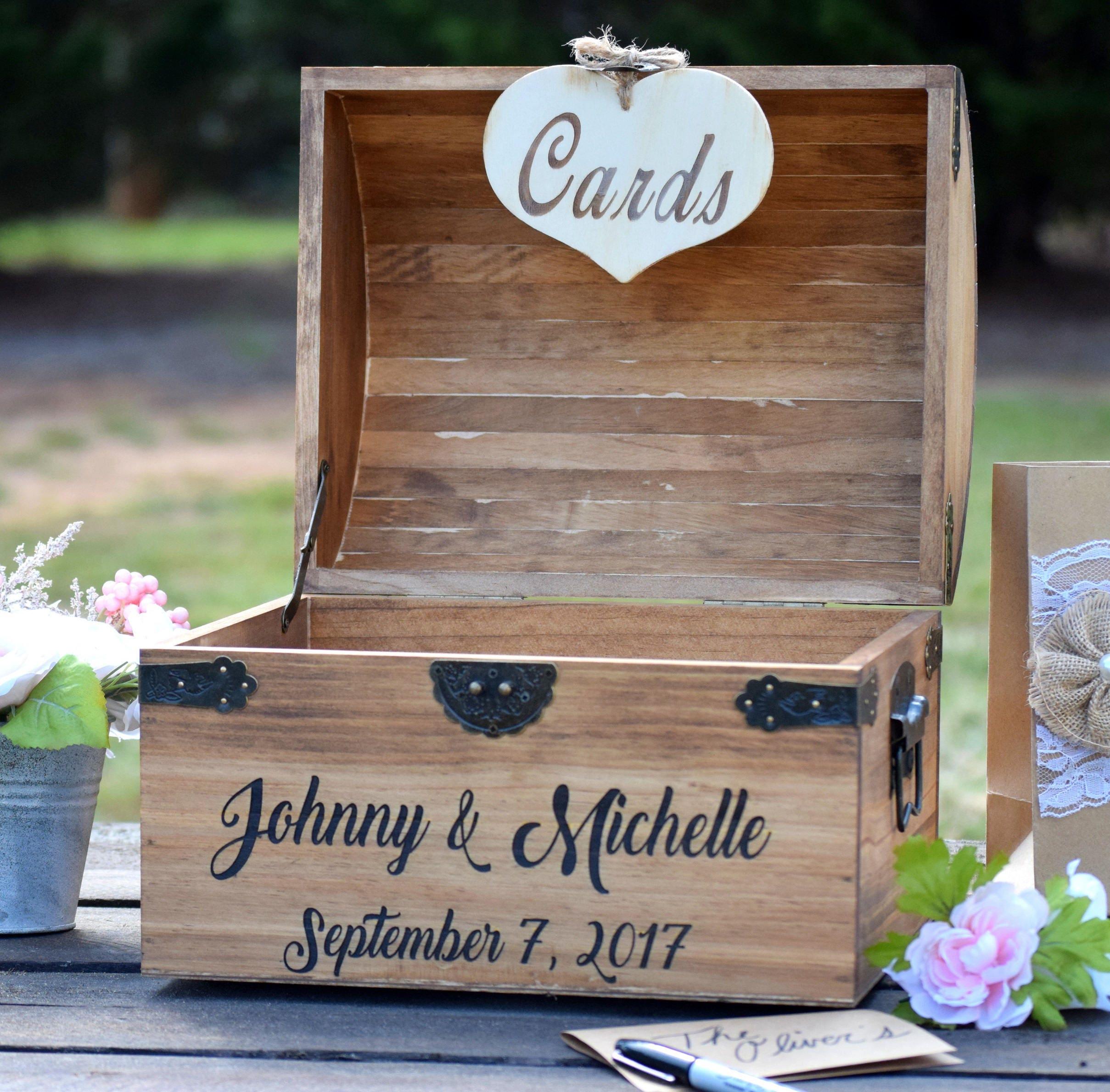 Shabby Chic Wedding Wooden Card Box Rustic Wedding Card |Wooden Chest For Wedding Cards