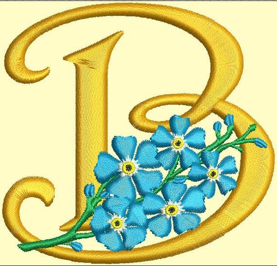 Shop Floral Monograms At Littlebrownnest Etsy Com: Floral Bunch And Monogram Letter B Machine