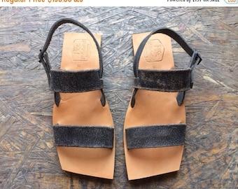 15% OFF Black / Natural Leather Sandals for Women & Men - Design 19 (Asymmetric) - Lightweight Design -- Handmade Sandals, Genuine Leather S