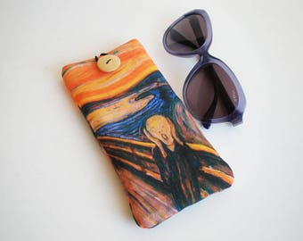 Glasses case, sunglasses case, eyeglasses case, Edvard Munch, The Scream, Case for sunglasses, Soft glasses case, glasses sleeve