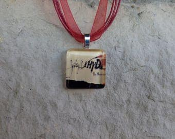 Broadway Musical Jekyll and Hyde Glass Pendant and Ribbon Necklace