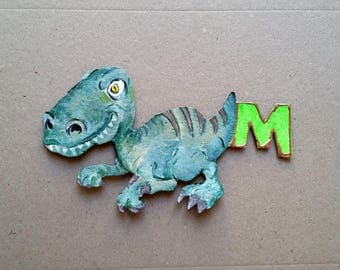 dinosaurs magnet letter M hand painted