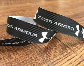 5 yards 7/8 black sports ribbon, black sports grosgrain ribbon, athletic ribbon, sewing, scrapbook, black hairbows, sports ribbon