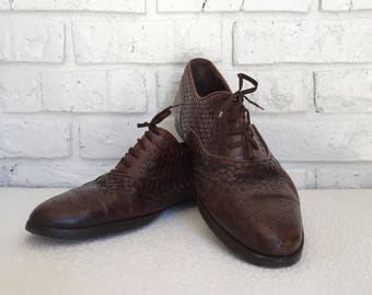 Men's Size 9.5 Cole Haan Brown Woven Leather Oxfords/Wingtips