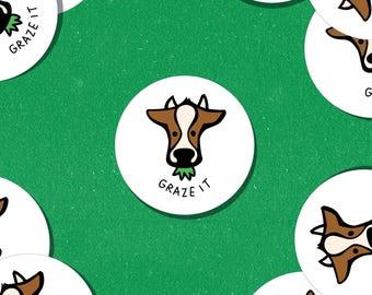 "Graze It 2"" Cow Circle Vinyl Stickers (Set of 3)"