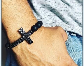 fathers day gift. black bracelet. stretch bracelet. cross bracelet. elastic bracelet. agate bead. men bracelet. handmade bracelet.
