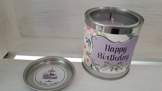 Happy Birthday candle. Cake scented. Vegan candle. Welsh candle.  Soy wax candle.  Happy Birthday.  Handmade in Wales, UK