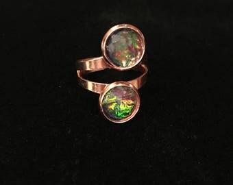 10mm Fire Opal Glass Double Bezel Rose Gold Adjustable Ring